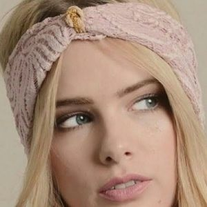 Lace Blush Headband with Gold Embellishment in Ctr